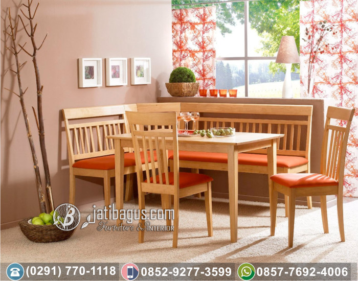 Set Meja Makan Sudut Minimalis Orange Corner