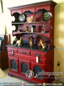 Bufet Dapur Minimalis Klasik Victorian Warna Duco Merah