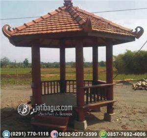 Gazebo Heksagonal Jepara Glugu Kayu Kelapa