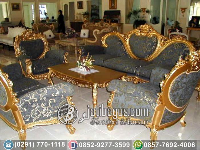 Kursi Tamu Sofa Ukir Mewah Bellmont Gray Set Gold