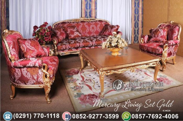 Kursi Tamu Sofa Ukir Mewah Mercury Living Set Gold