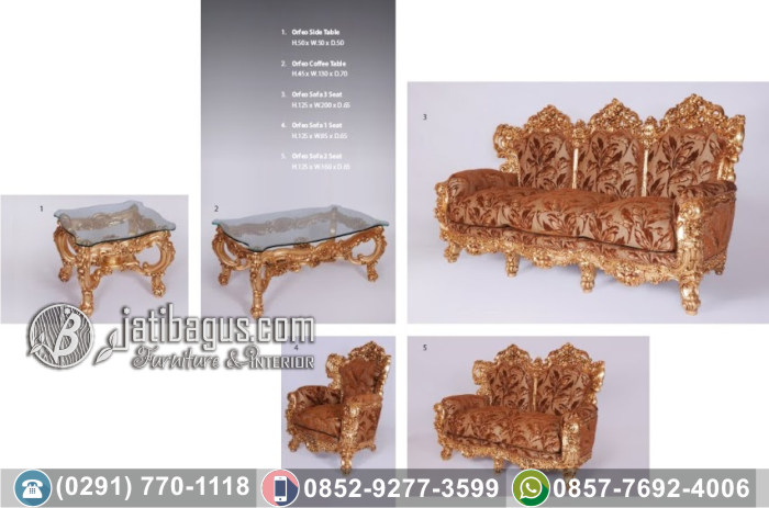 Kursi Tamu Sofa Ukir Orfeo Living Set Gold