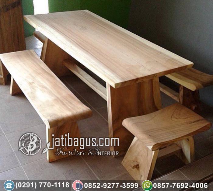 Meja Makan Blok dan Bangku Trembesi Jepara Klasik Solid