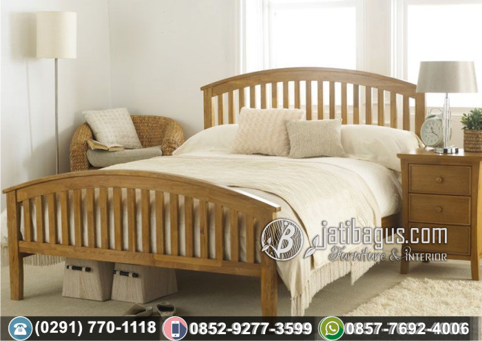Tempat Tidur Minimalis Simpel Lengkung Jati