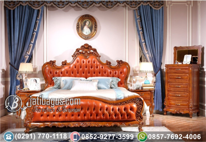 Tempat Tidur Ukir Klasik Kayu Jati New Orange