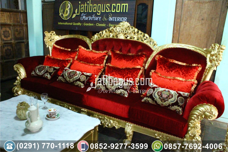Kursi Tamu Sofa Ukir Klasik Merah Delima