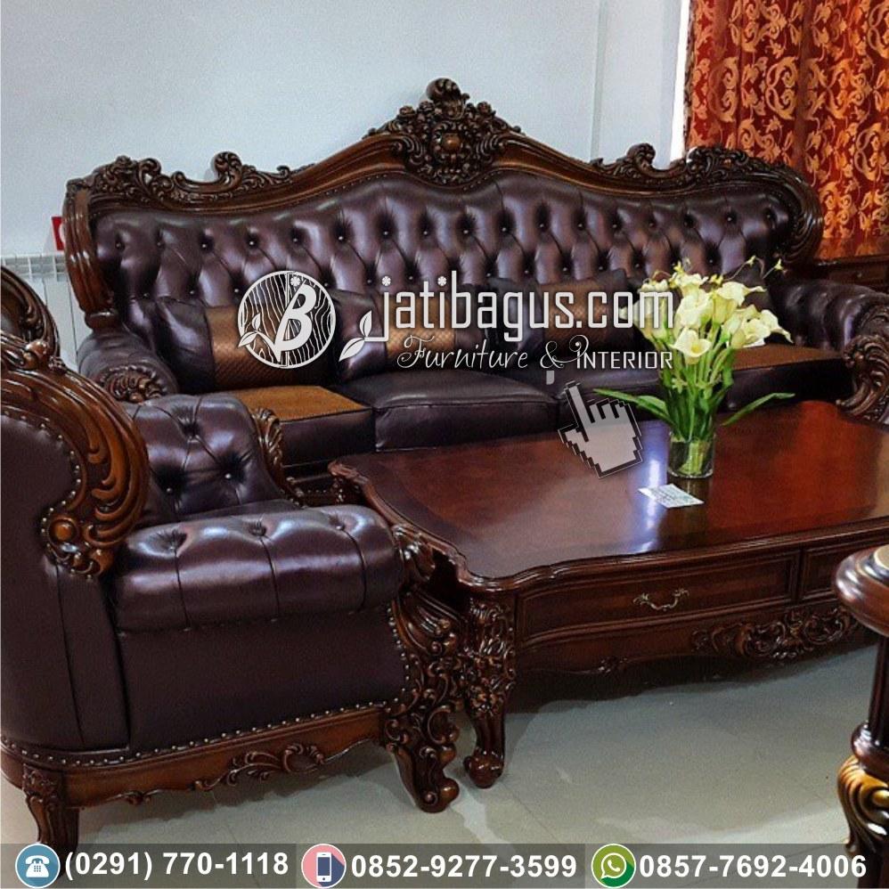 kursi tamu sofa ukir coklat