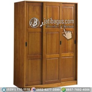Lemari Pakaian 3 Pintu Minimalis Kayu Jati Solid