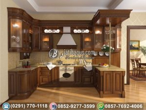 Kitchen Set Minimalis Jati Kombinasi Ukir