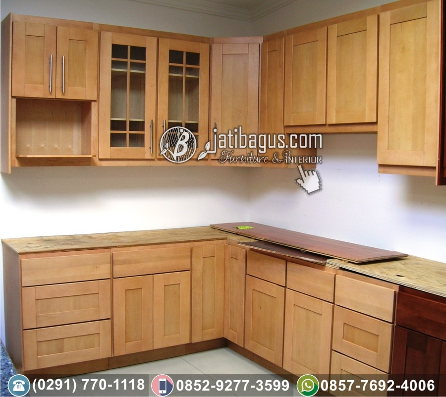 Jual Kitchen Set Minimalis Jati Asli Bisa Custom Design