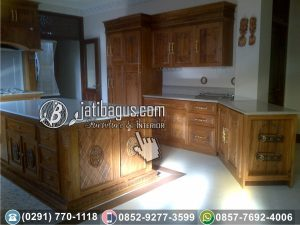 Kitchen Set Ukir Kombinasi Minimalis Jati