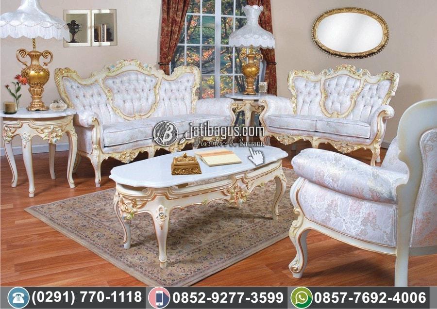 Jual Kursi Tamu Sofa Ukir Putih