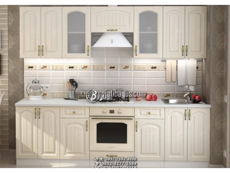 Kitchen Set Minimalis Putih Kayu Mahoni