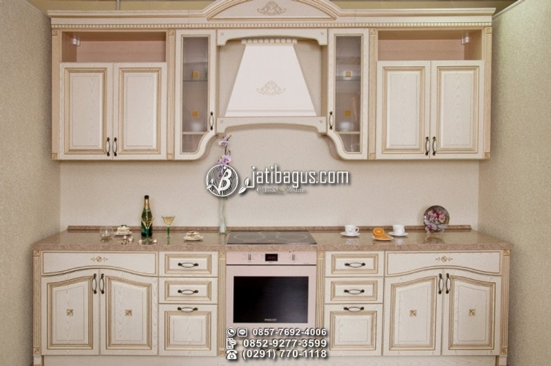 Kitchen Set Minimalis Putih Kayu Mahoni