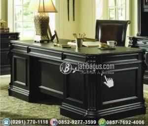Meja Kantor Minimalis Kayu Jati Finishing Hitam