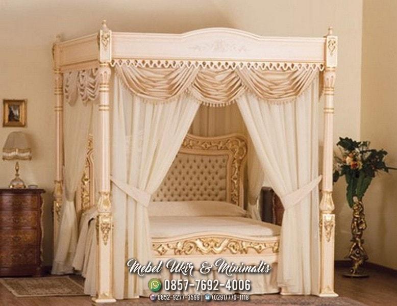 Jual set tempat tidur ukir kayu jati mahoni