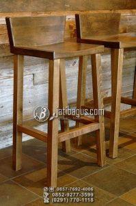 Kursi Cafe Tinggi Sandaran Pendek Minimalis Kayu Jati