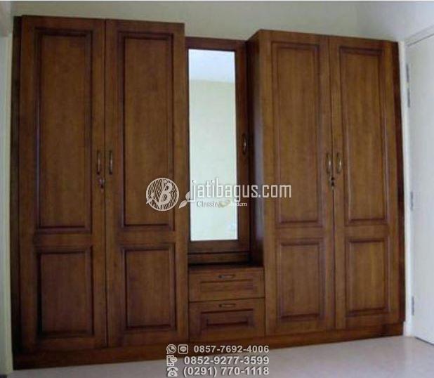 lemari pakaian minimalis kayu jati pintu 6 custom