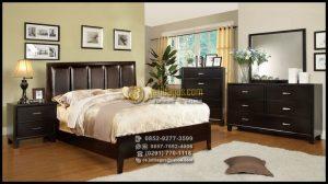 Set Tempat Tidur Minimalis Kayu Jati Finishing Hitam