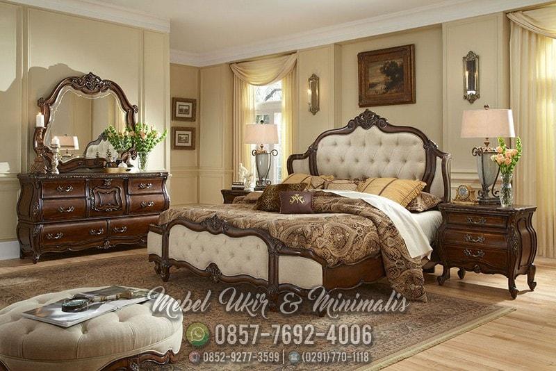 Jual set tempat tidur ukir kayu jati Murah