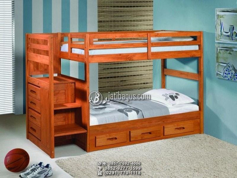 Tempat tidur minimalis tingkat kayu jati