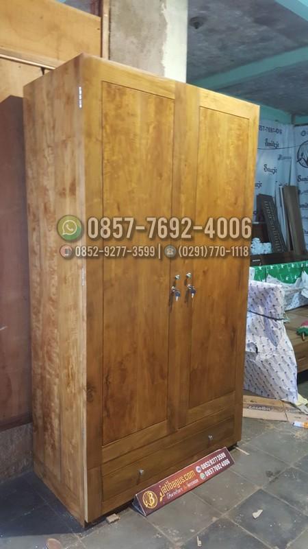 Jual Lemari Pakaian Minimalis 2 Pintu Kayu Jati Asli Murah