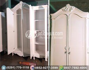Lemari Pakaian 4 Pintu Ukir Duco Putih