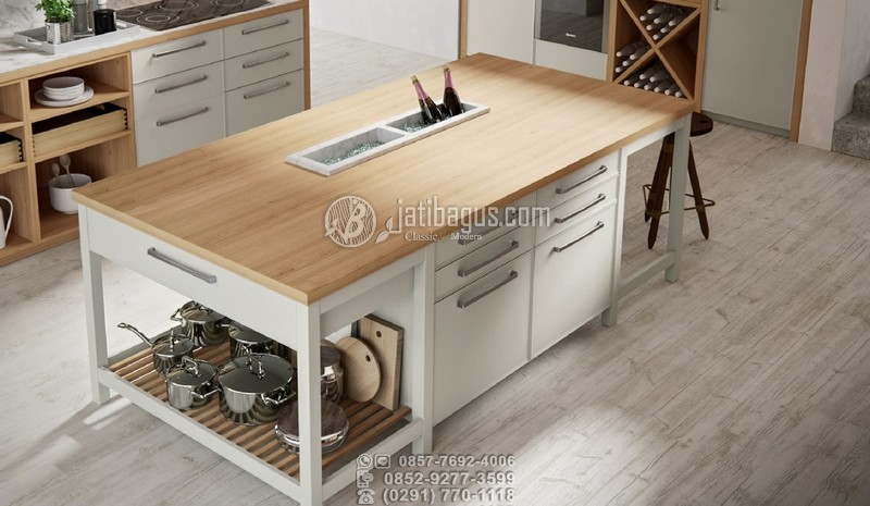 Meja Kitchen Set Minimalis Modern Putih Kombinasi
