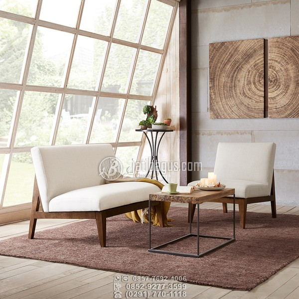 Kursi tamu minimalis tanpa tanganan kayu jati