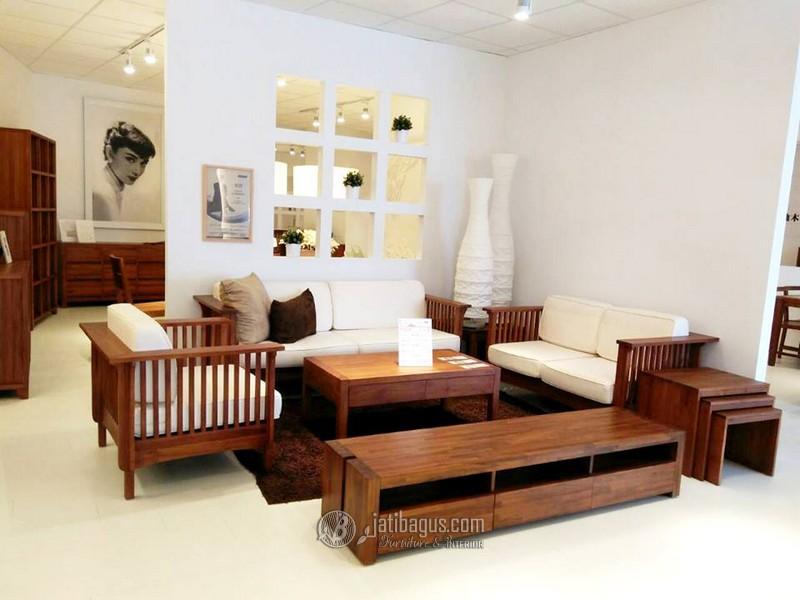 set kursi tamu minimalis kayu modern busa tebal