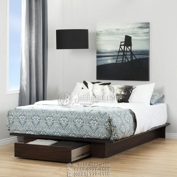 Jual set tempat tidur minimalis laci kayu solid jati Murah