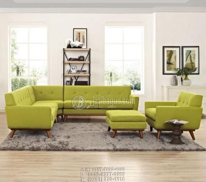 Set Kursi Tamu Sofa Sudut Meja Sandaran Kaki