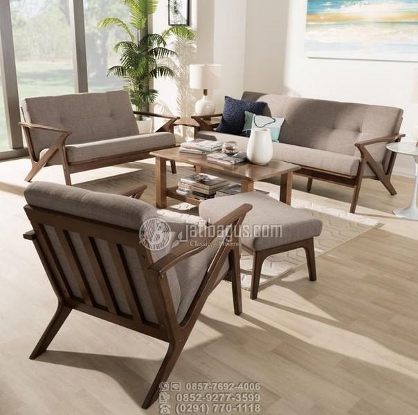 Set Kursi Tamu Sofa Scandinavian Lancip Kayu Solid Jati