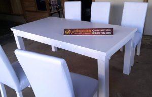 Set Meja Makan Minimalis Duco Putih Kayu Solid