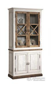 Lemari Pajangan Vintage Putih & Natural 2 Pintu