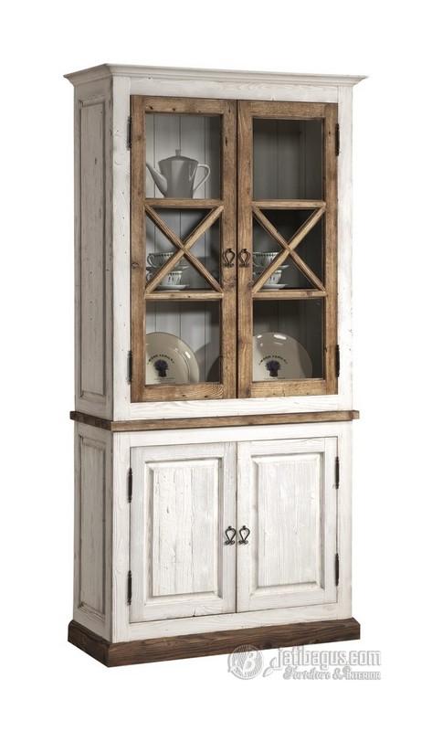 Lemari dapur putih vintage 4 pintu