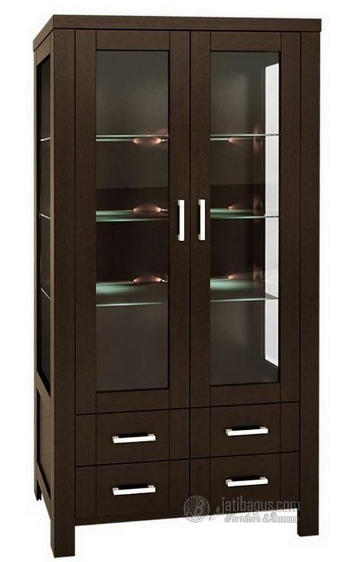 Lemari Dapur Coklat dengan 2 pintu kaca & 4 laci