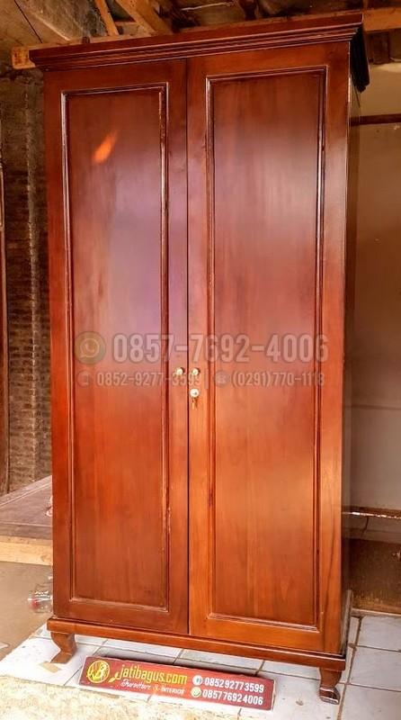 Lemari Pakaian Minimalis Klasik Pintu 2 Kayu Solid