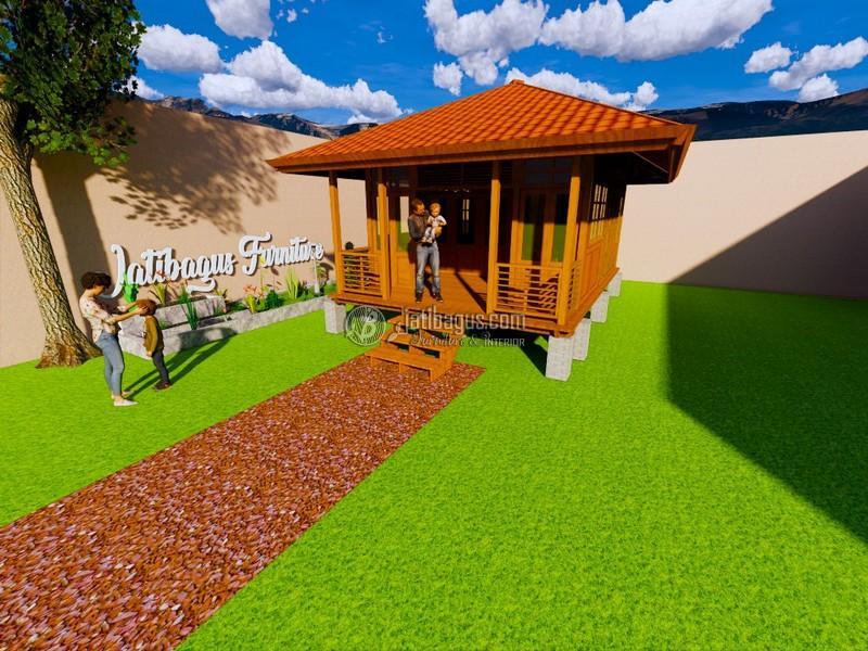 Rumah Kayu Minimalis Modern Kayu Jati Asli