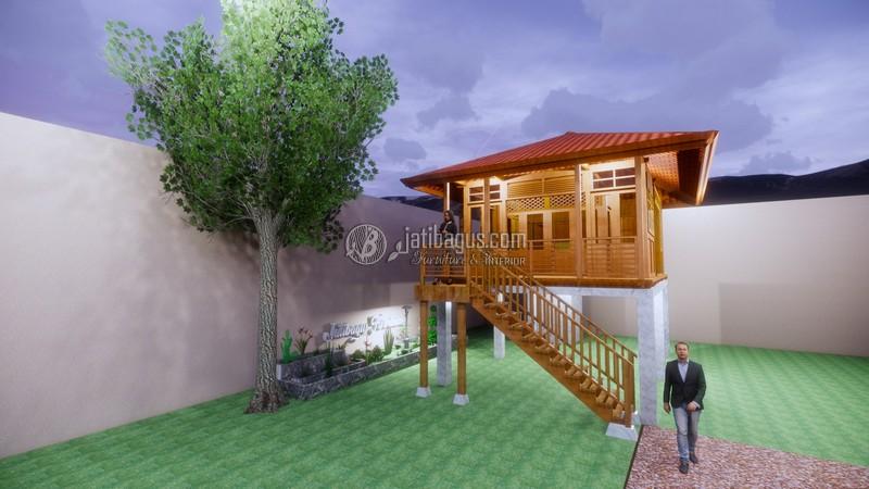Rumah Kayu Jati Minimalis Modern Panggung