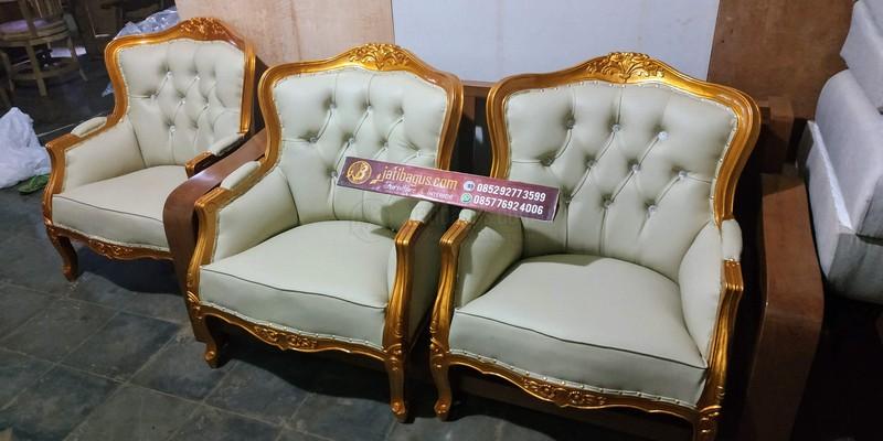 Set Kursi Pengantin Ukir Emas Kayu Jati