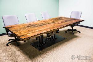 Set Meja Kantor Kayu Tanpa Sambungan & Meja Makan