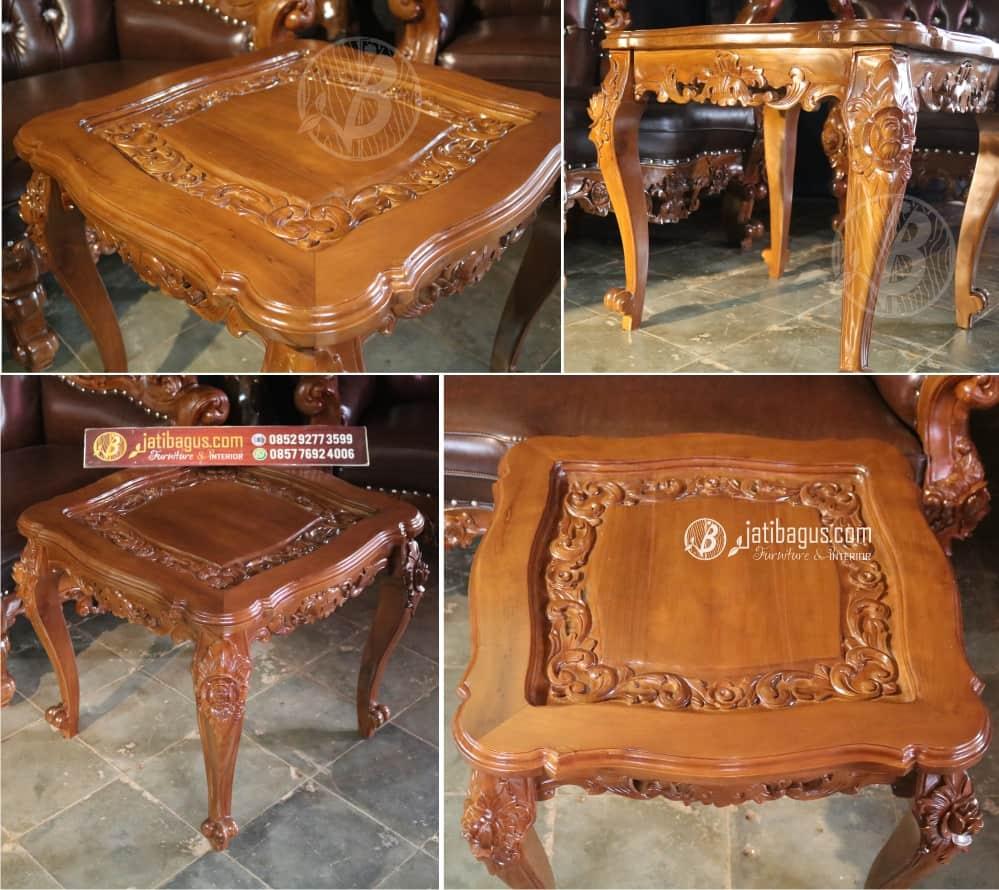 Meja Kecil untuk Set Kursi Tamu Sofa Ukir Piala Bunga