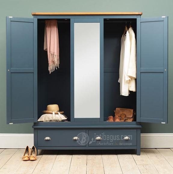 Ukuran Lemari Pakaian Pintu 3 Vintage Biru Kombinasi Natural