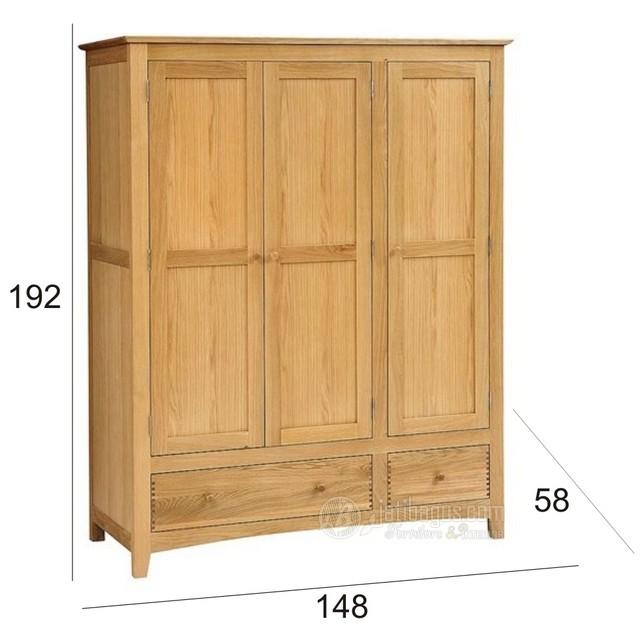 Ukuran Lemari Pakaian Pintu 3 Pintu 3 Modern