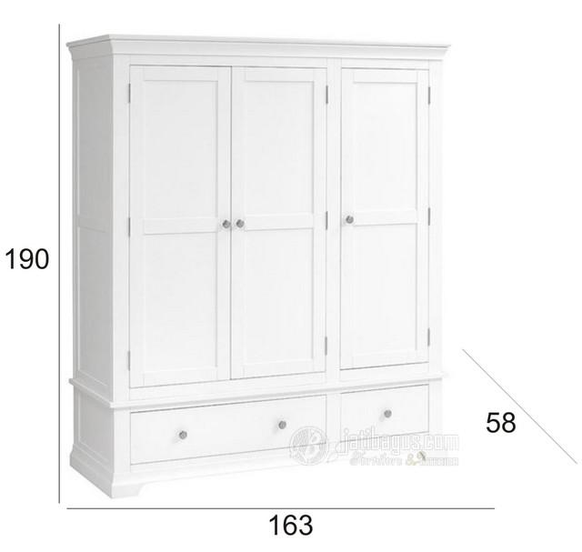 Ukuran Lemari Pakaian Pintu 3 Mahoni Putih