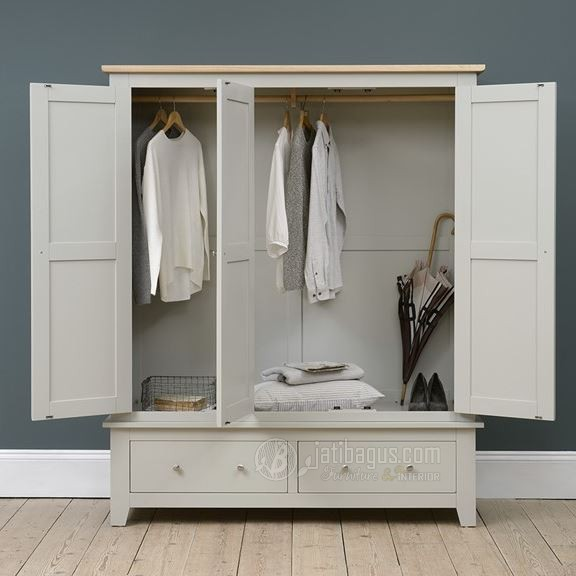 Ukuran Lemari Pakaian 3 Pintu Putih Kombinasi Natural