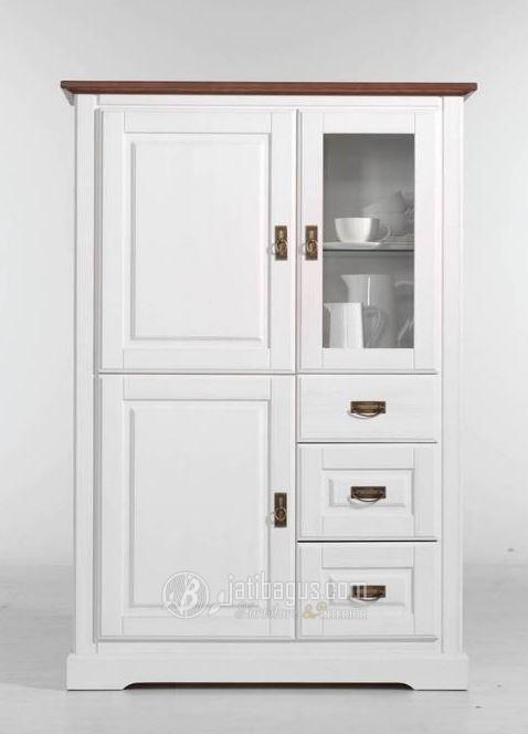 Lemari Hias Minimalis Dapur Duco Putih Atas Natural