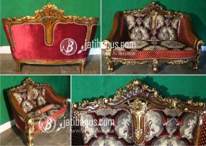 Set Kursi Tamu Sofa Ukir Emas Jok Merah