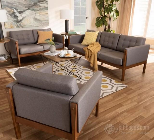 Set Kursi Tamu Sofa Minimalis Kayu Solid Jati Asli